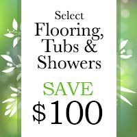 Save $100 on your purchase of select flooring, tubs & showers this month at Lakeside Floors in Huffman.